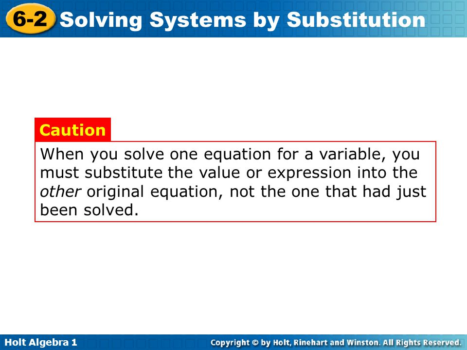 When you solve one equation for a variable, you must substitute the value or expression into the other original equation, not the one that had just been solved.