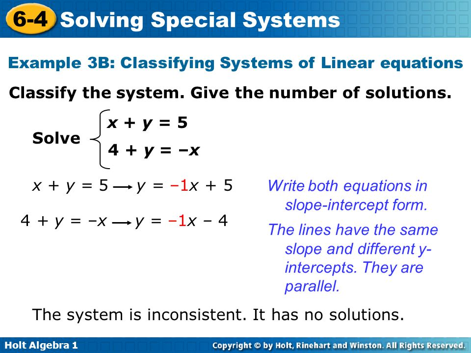 Example 3B: Classifying Systems of Linear equations