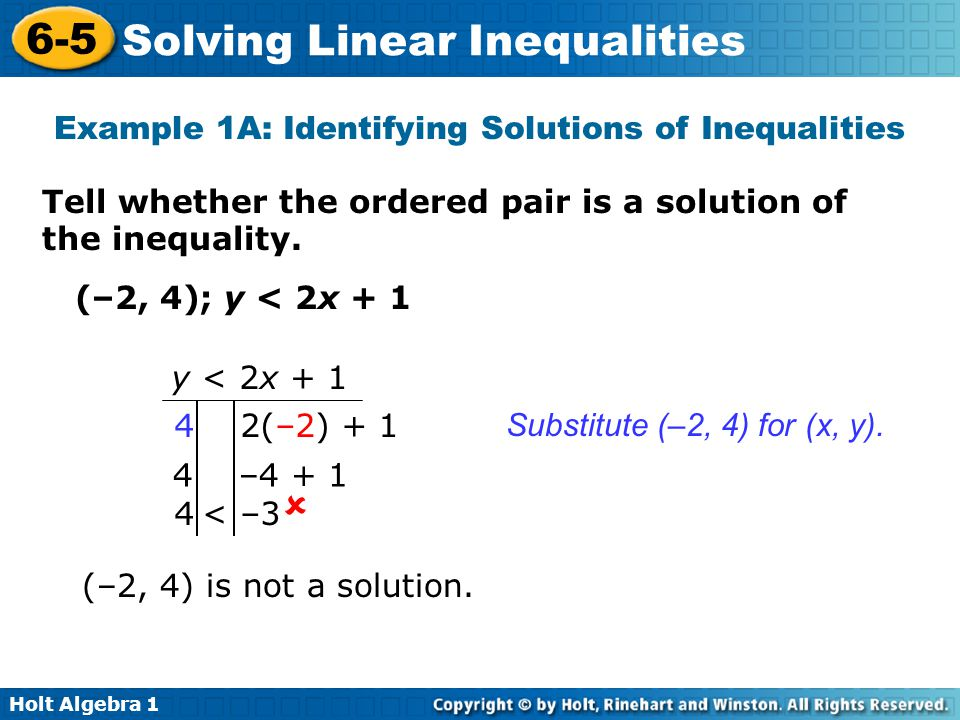 Example 1A: Identifying Solutions of Inequalities