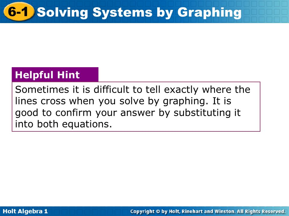 Sometimes it is difficult to tell exactly where the lines cross when you solve by graphing. It is good to confirm your answer by substituting it into both equations.