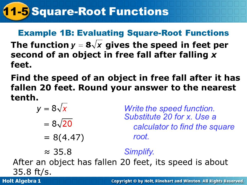 Square Root Function Examples Square-Root Functions ...
