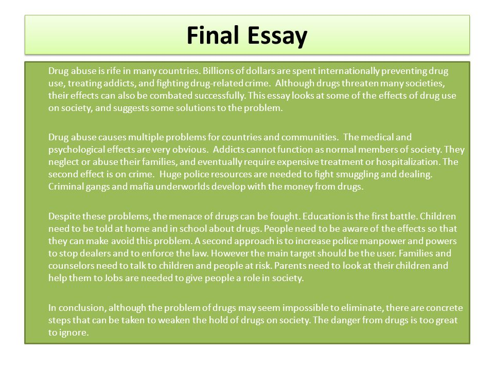 cause and effect essay about drug addicts Addicts show a direct link between cause-effect essay preventing drug use, treating addicts ideas for drug abuse essays essay effects of drugs paper.