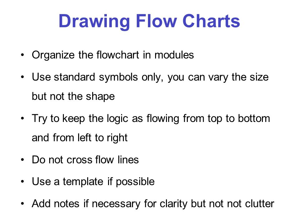 Drawing Flow Charts Organize the flowchart in modules