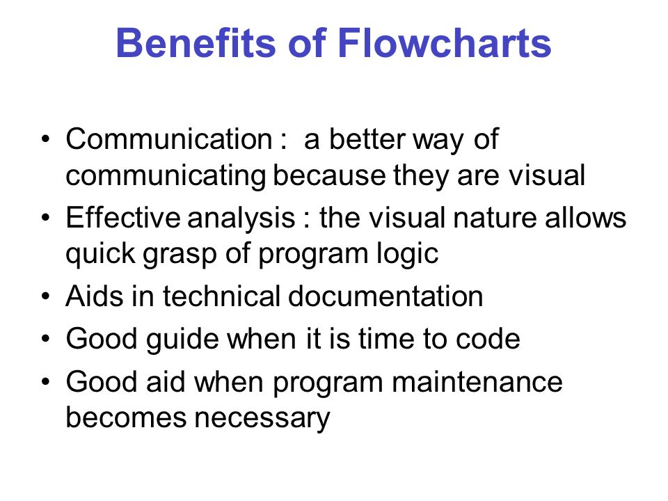 Benefits of Flowcharts