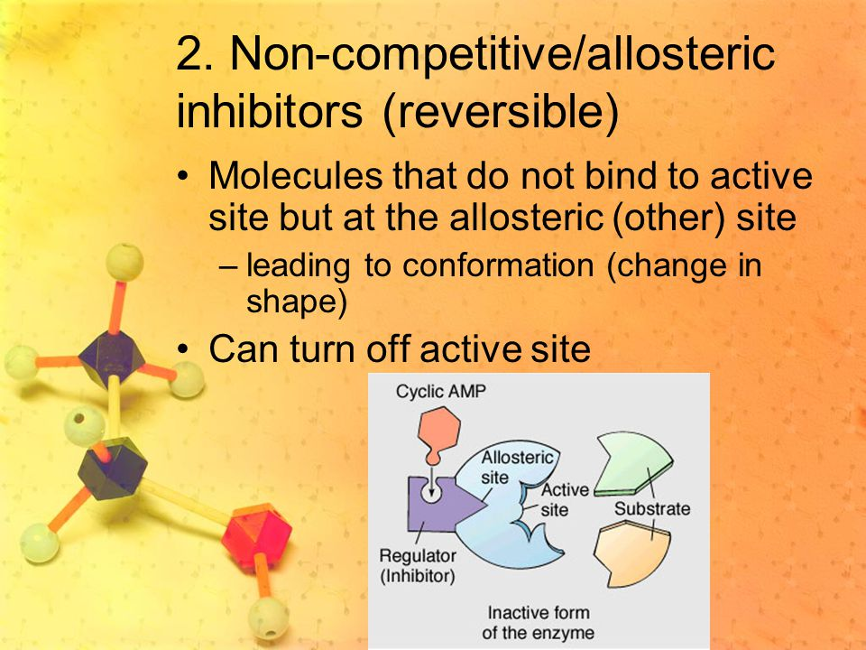 2. Non-competitive/allosteric inhibitors (reversible)