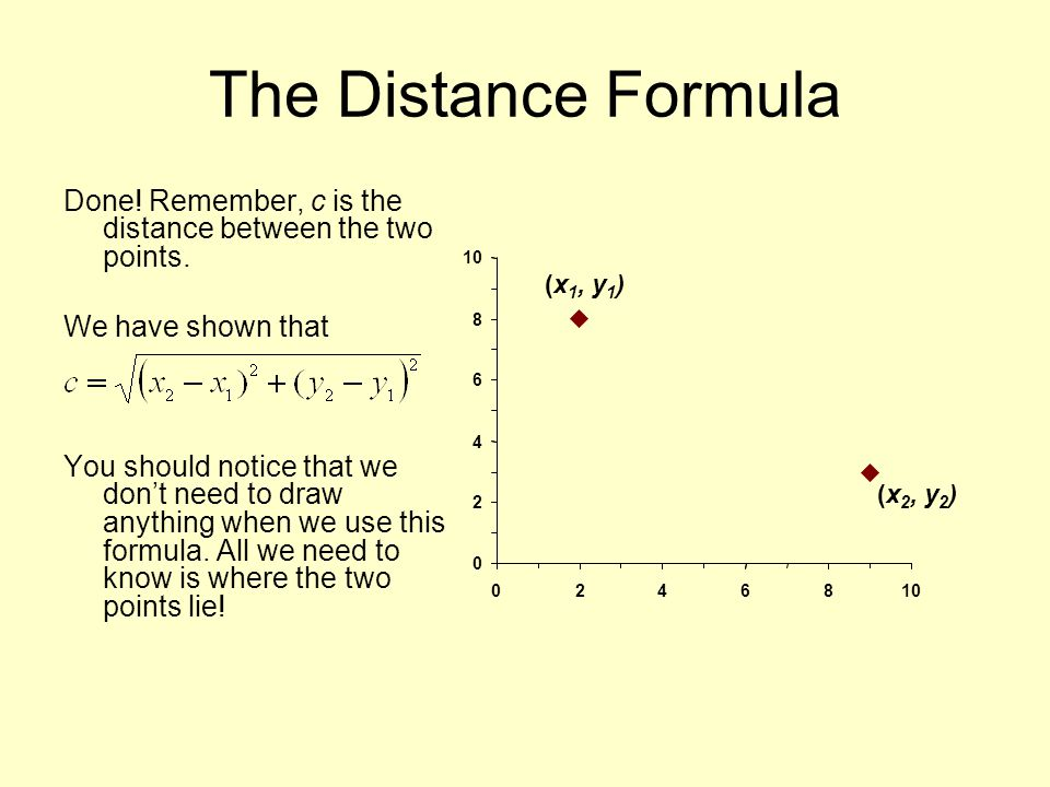 distance between two points in a The study of geometry requires you to deal with angles and their relation to other measurements, such as distance when looking at straight lines, calculating the distance between two points is straightforward: simply measure the distance with a ruler, and use the pythagorean theorem when dealing with right triangles.