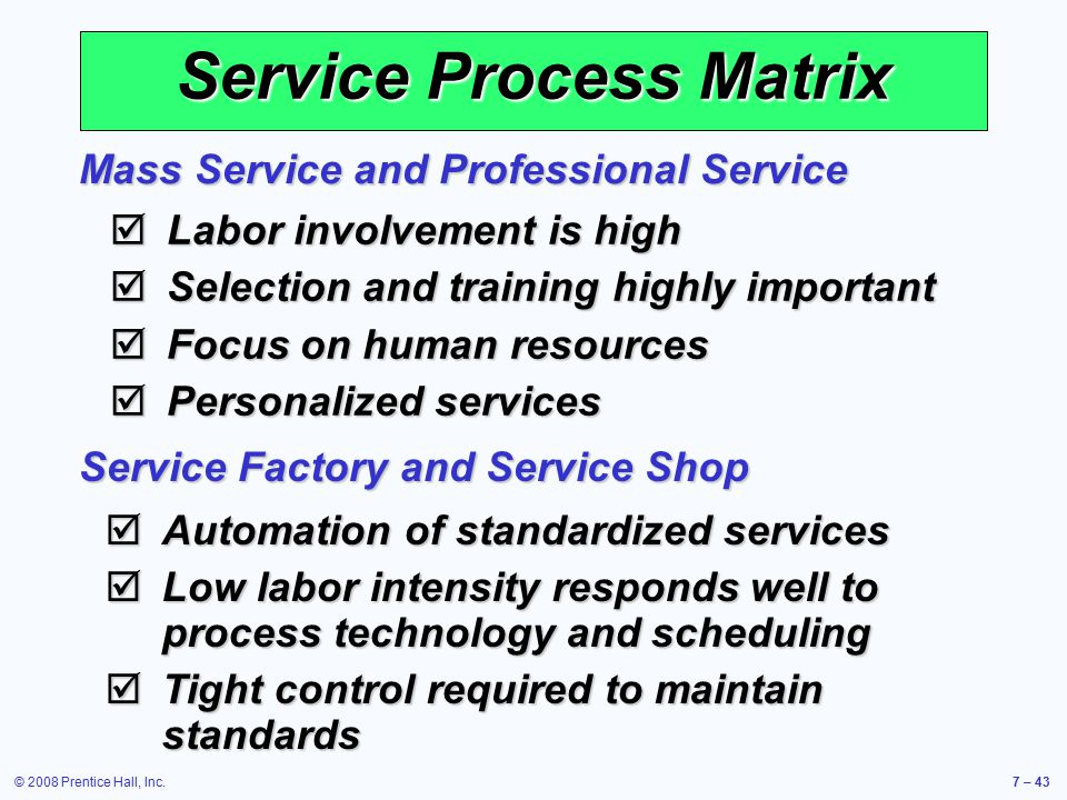 service process matrix in operations management It operations control aims to  it operations control activities were covered in the process it operations management  responsibility matrix: it operations control.