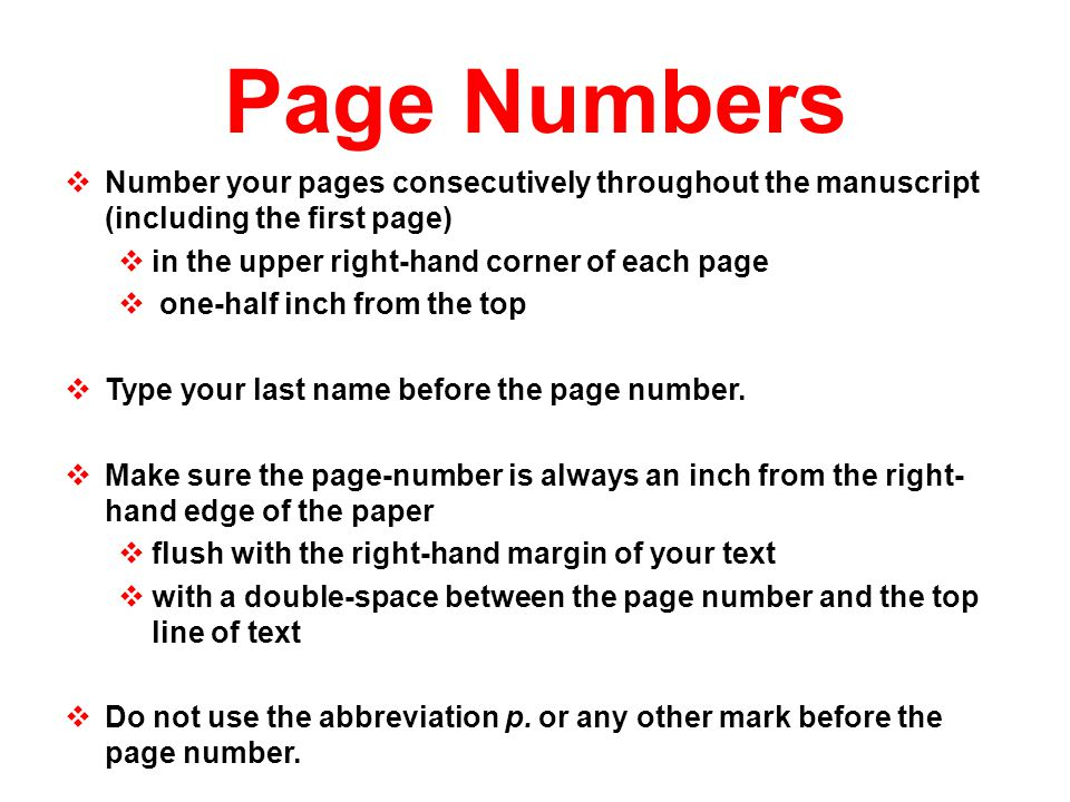 research paper page numbering