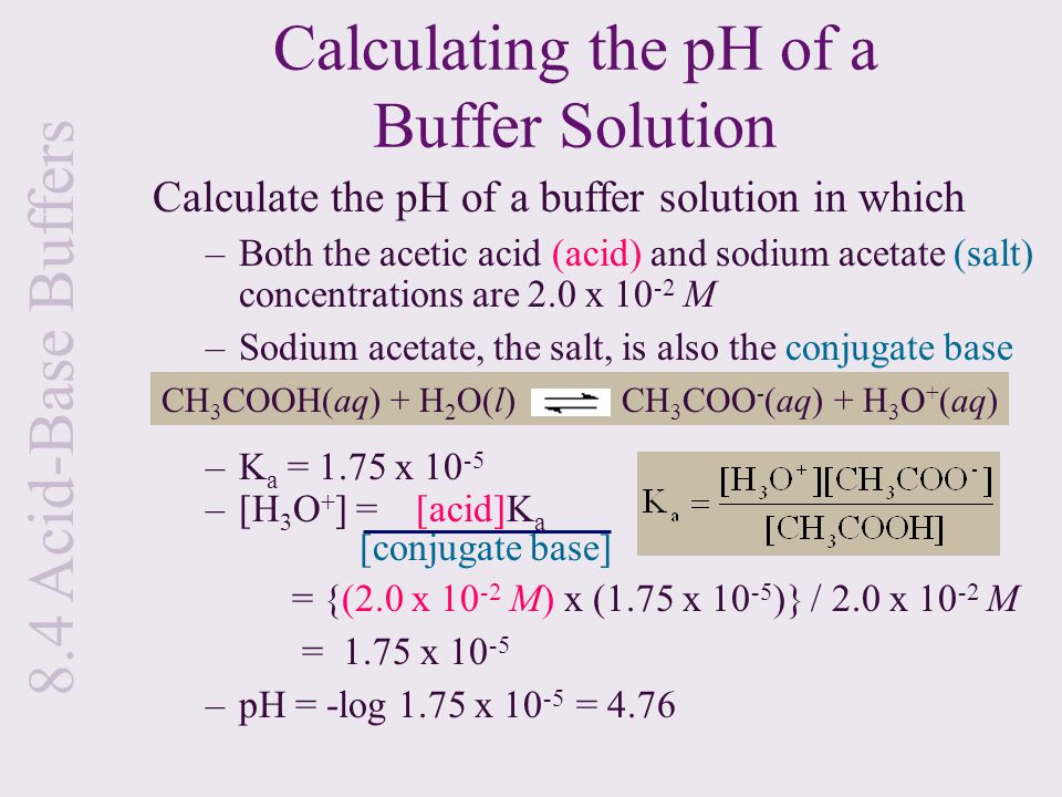 acetic acid and buffer When an acetic acid (sodium) buffer solution is prepared from 1:1 acetic acid and  sodium acetate, for example, the buffer solution ph is approximately 47 (near.