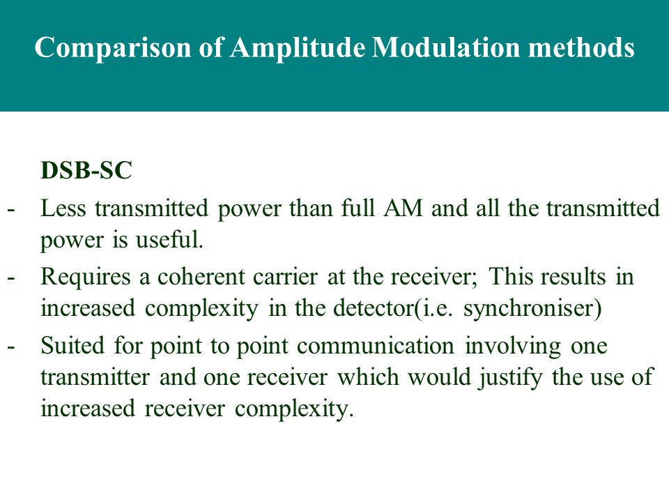 comparison of different modulation technique Abstract—this paper analyses different modulation techniques used for software   the comparison for representive modulation schemes which are used in.