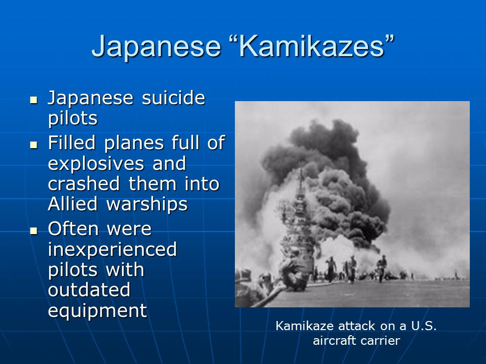 Kamikaze attack on a U.S. aircraft carrier