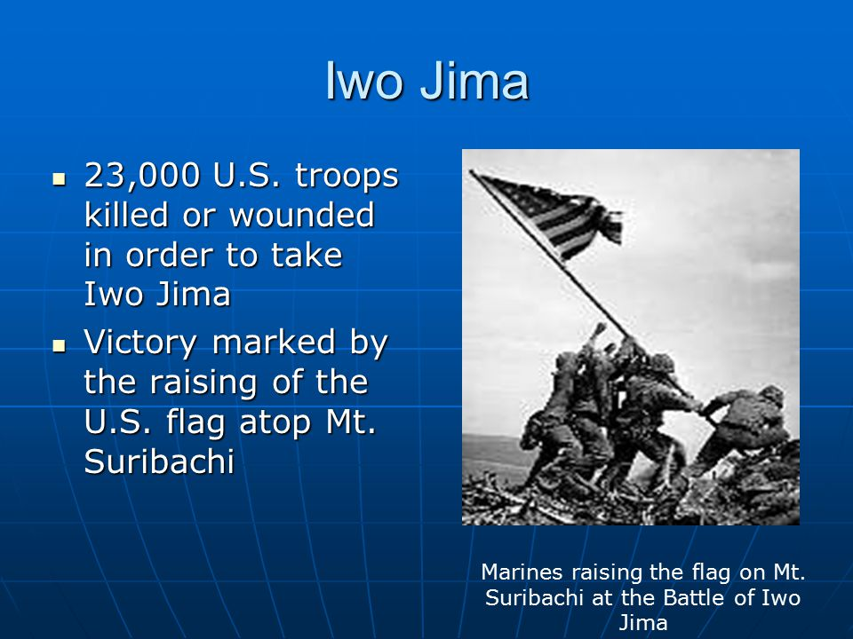 Marines raising the flag on Mt. Suribachi at the Battle of Iwo Jima