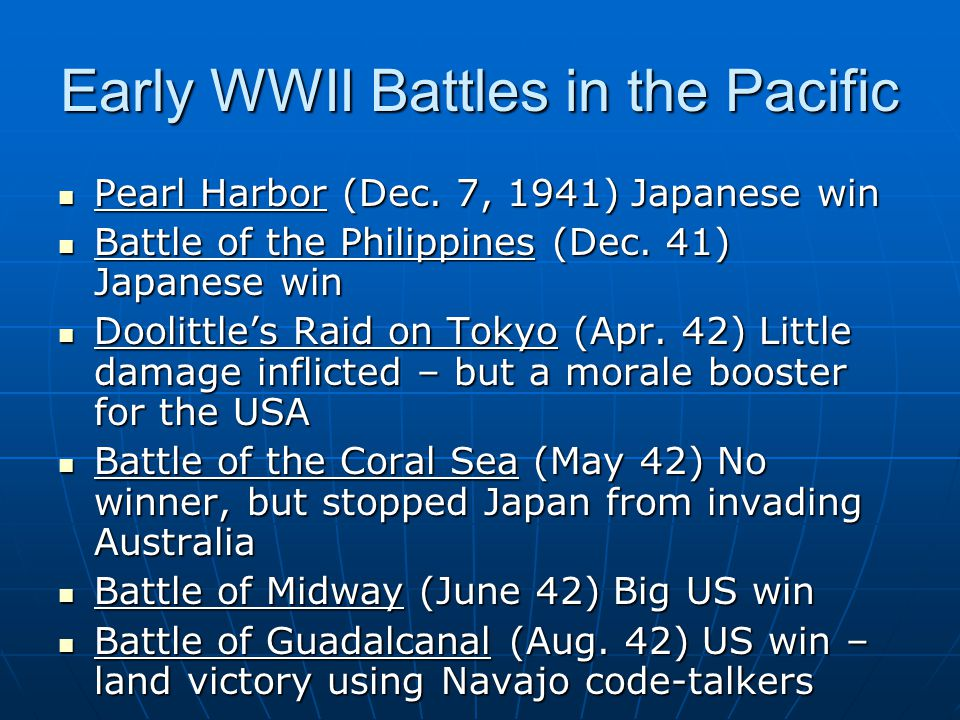 Early WWII Battles in the Pacific