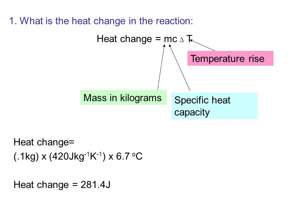an experiment to find the enthalpy change by measuring temperature change of a reaction Energy changes in a reaction are calculated by bond energies and shown by energy diagrams the temperature change of the water, and the mass or number of moles of the limiting reactant (eg the fuel burned or the solute added) calculate the enthalpy change (in kj).