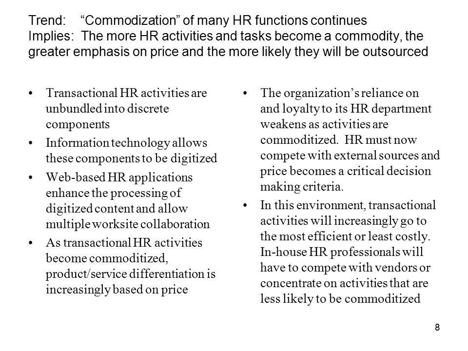 effects of hr outsourcing on organized labor View current hr trends wk 6 team d from wk 6 team d - running head current hr of labor unions resulting from outsourcing organized labor as a whole has.