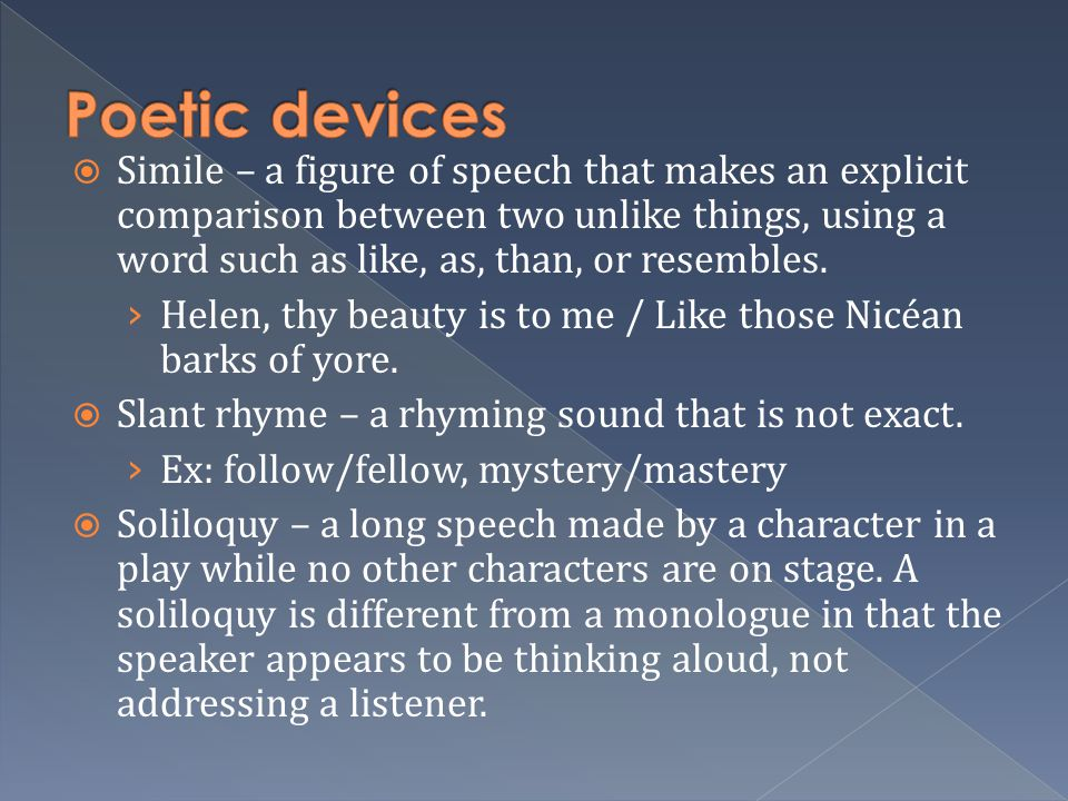 poetic sound devices See what you understand about poetic devices with an interactive quiz and printable worksheet use these handy assessments at any time during your.