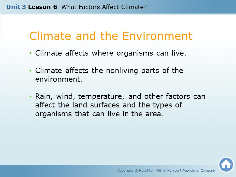 Climate and the Environment