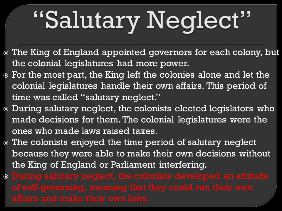salutary neglect religion View notes - salutary neglect and puritans notes from us 201 at north alabama salutary neglect salutary neglect was britain's unofficial policy, initiated by prime minister robert walpole, to relax.