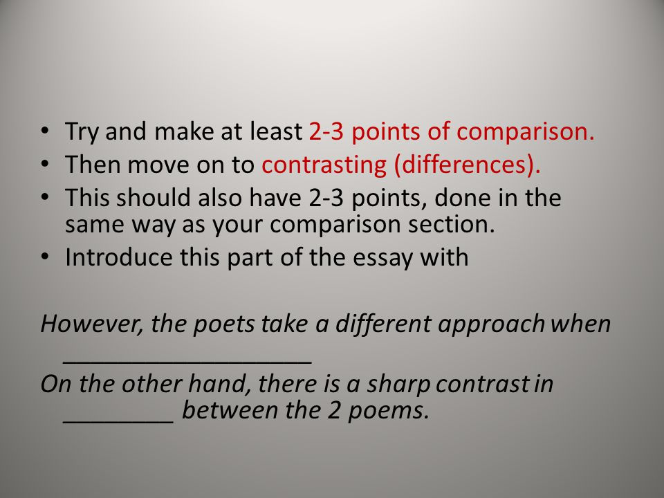 how to answer the poetry question ppt  try and make at least 2 3 points of comparison