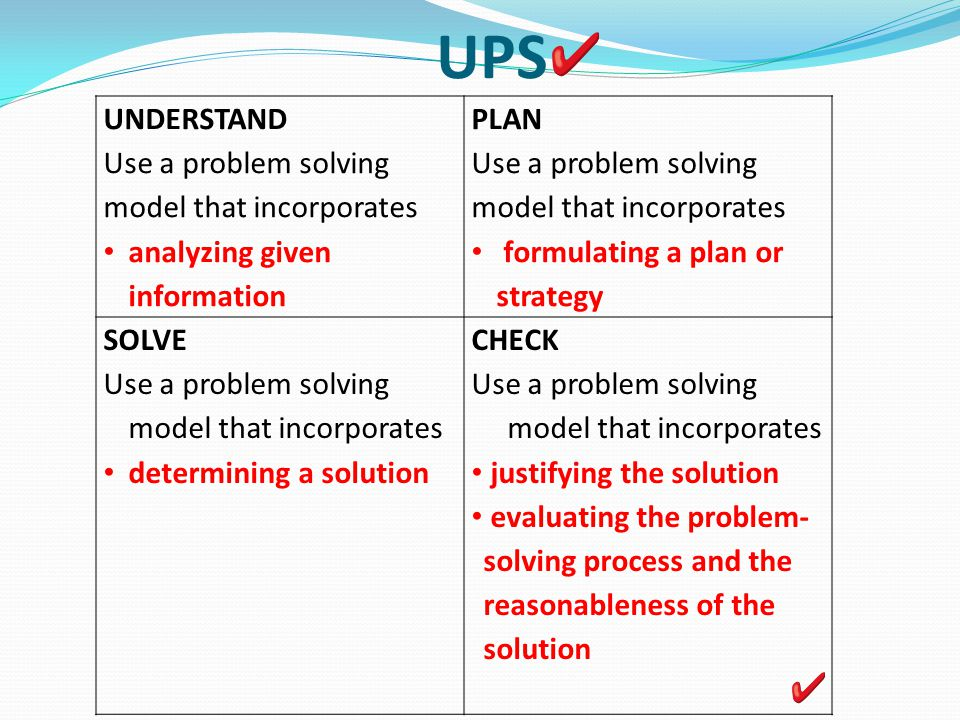 using rothwells standard agenda for problem solving Nctm process standards for mathematics  most students have not considered these processes beyond the act of problem solving, and perhaps reasoning and proof, since traditional instruction rarely makes explicit the additional processes of making connections among and between content standards, using multiple representations to.