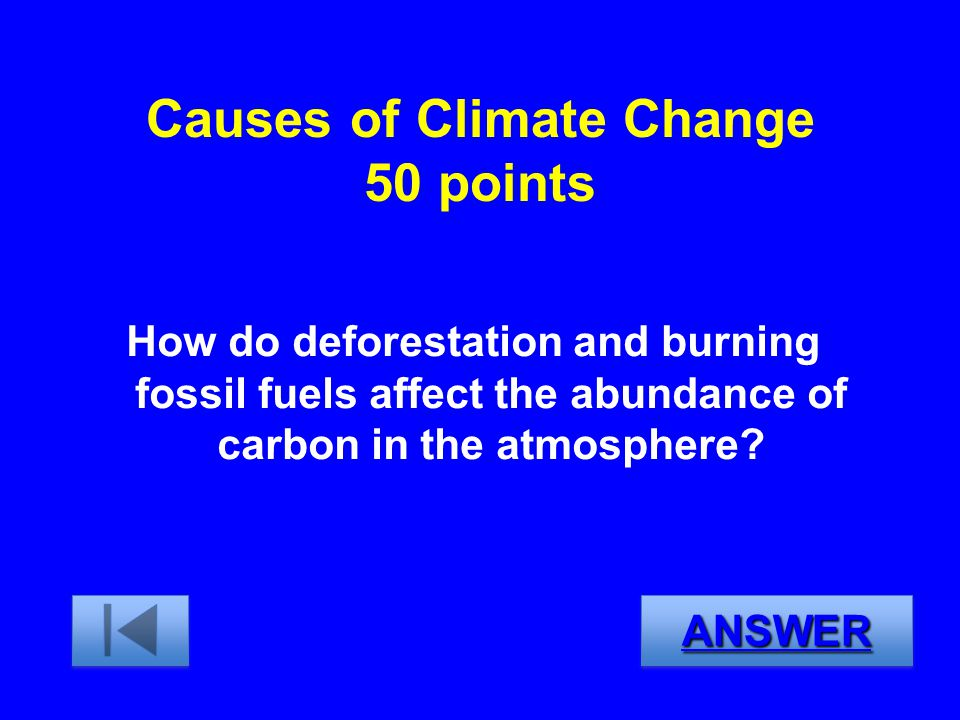 Causes of Climate Change 50 points