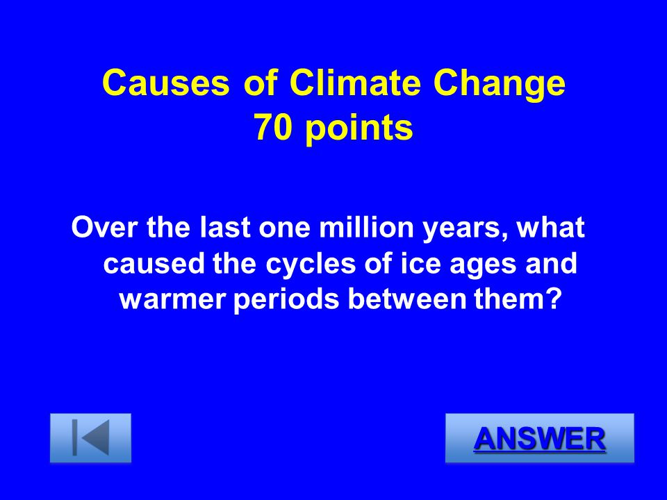 Causes of Climate Change 70 points