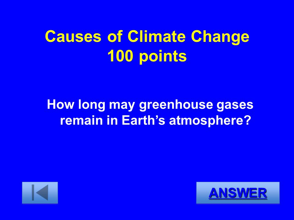 Causes of Climate Change 100 points