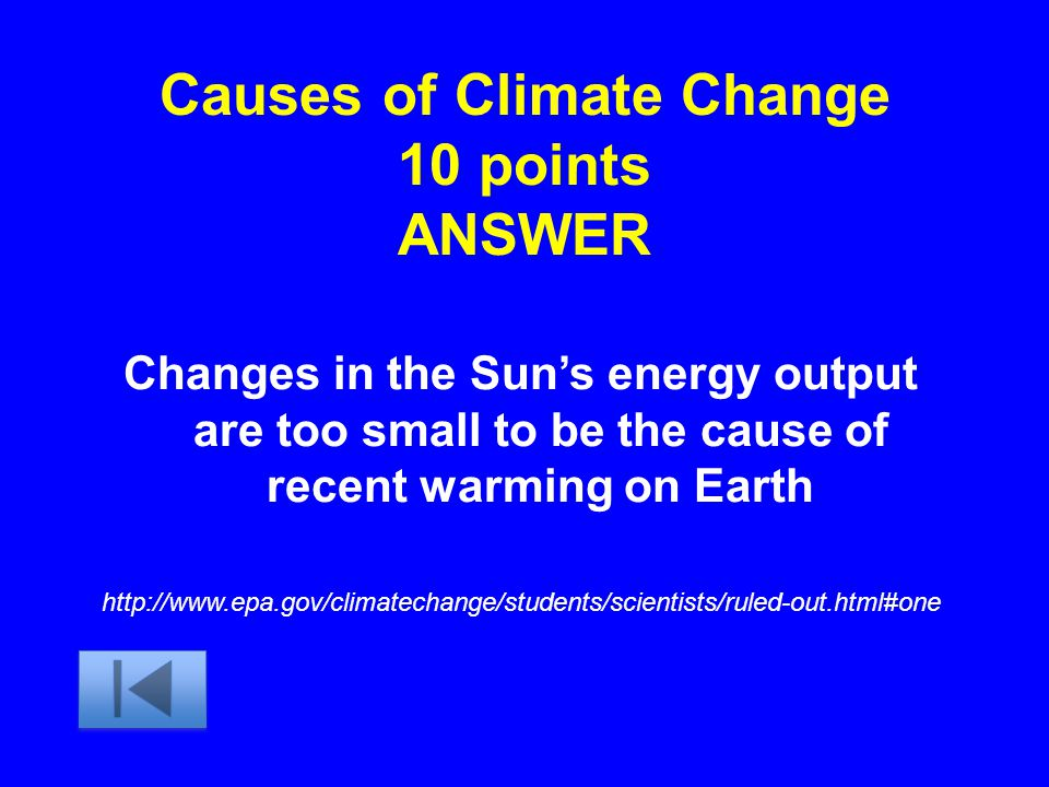 Causes of Climate Change 10 points ANSWER