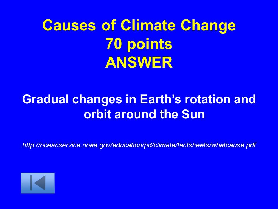 Causes of Climate Change 70 points ANSWER