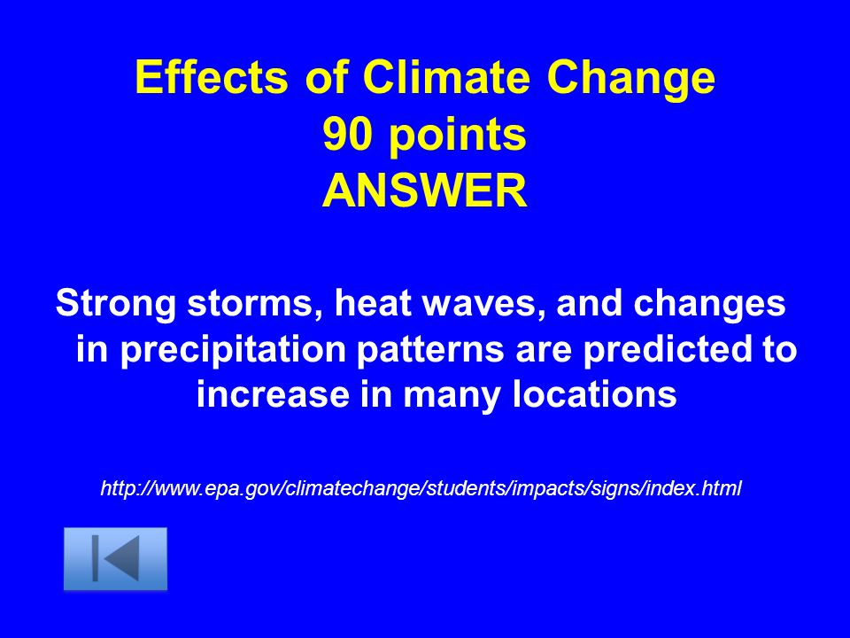 Effects of Climate Change 90 points ANSWER