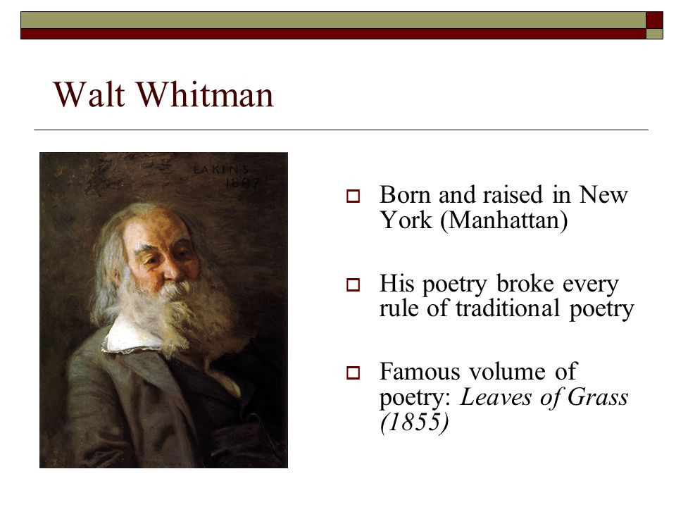 walt whitmans concept of democracy in his poems Walt whitman was an american poet who lived from 1819-1892 some of his poetry was controversial because of the nature of its content i hear america singing.