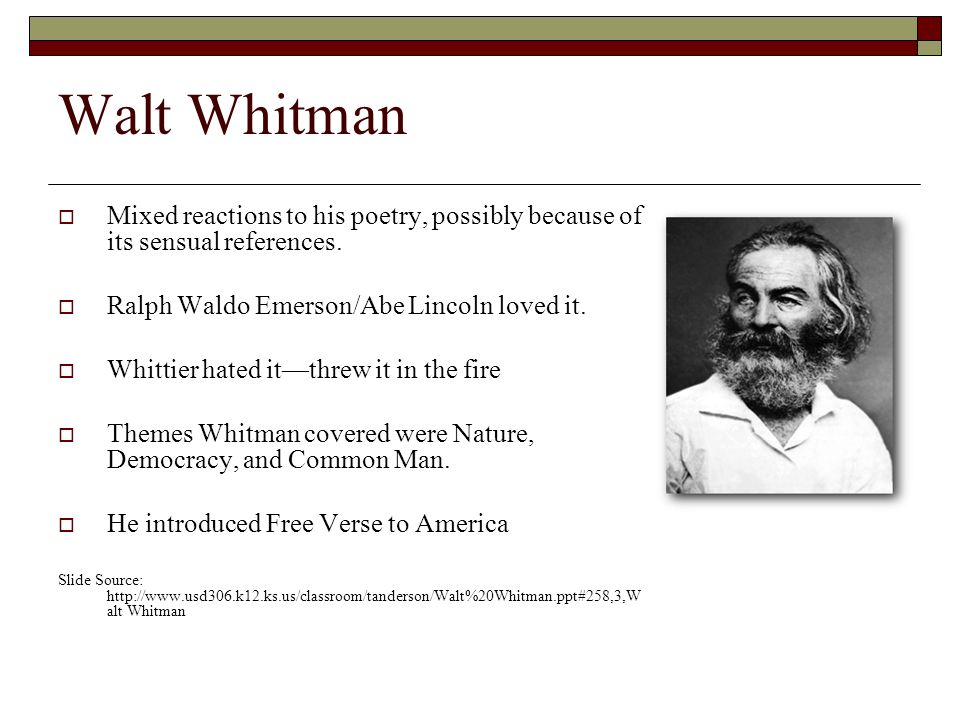 walt whitman the common man with revolutionary poetry Walt whitman, song of myself, sections 1 to 15 from leaves of grass, 1855 are the issues raised in this section somehow reconciled in whitman's poetry if you select this text, you will have the opportunity to find out.