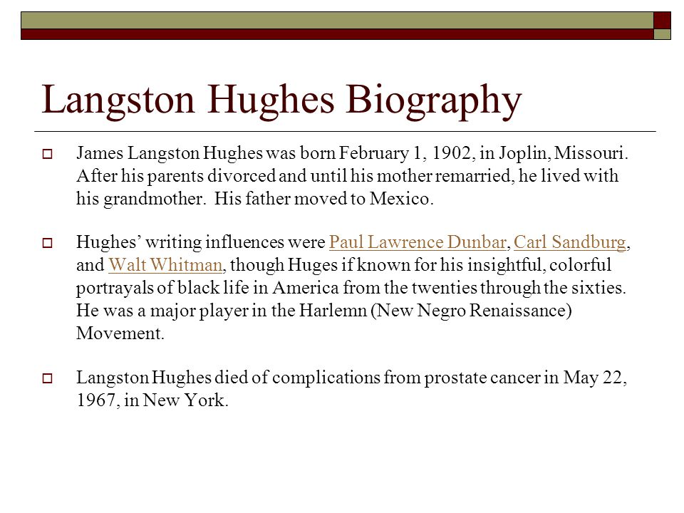 langston hughess life influences 2018-7-8 get an answer for 'what are some conflicts in langston hughes's short story  m'am questions at enotes  which influences them to.