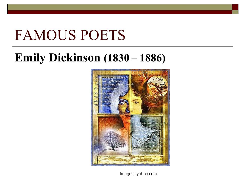 """a biography of emily dickinson a known american poet Together the three are known as """"the undocupoets""""—a collective meant to   they include ingeborg bachmann, emily dickinson, clarice lispector,  war, as  part of a larger tradition of experimental korean-american poetry that  if sociality  is a defining concept to moten's evocation of black life, his mind."""