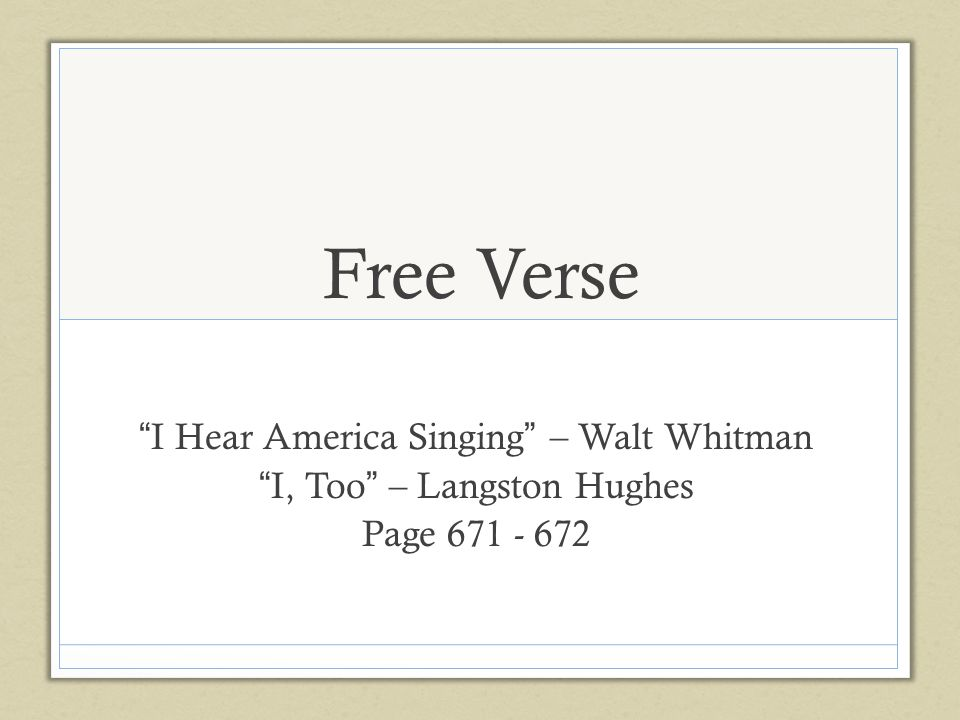i hear america singing walt whitman essay I heard america singing on sunday night bluesman extraordinaire buddy guy's  music rang like the flip-side of walt whitman's famous poem.