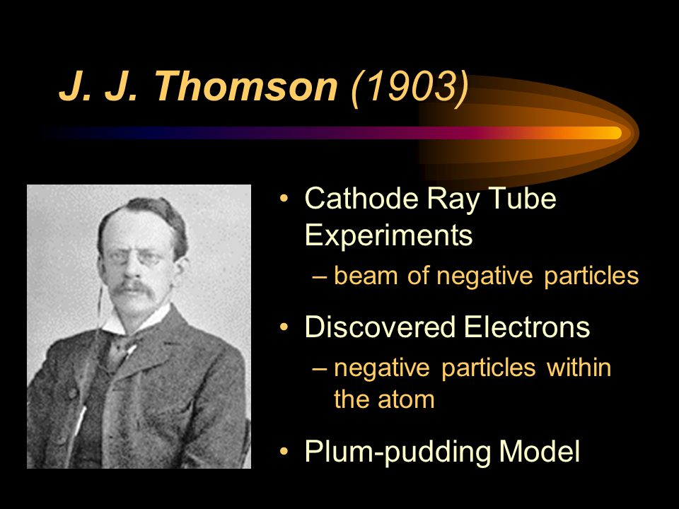 J. J. Thomson (1903) Cathode Ray Tube Experiments Discovered Electrons