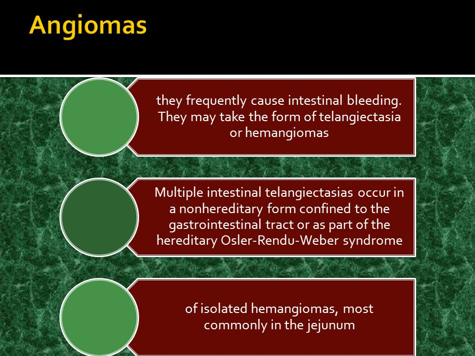 of isolated hemangiomas, most commonly in the jejunum
