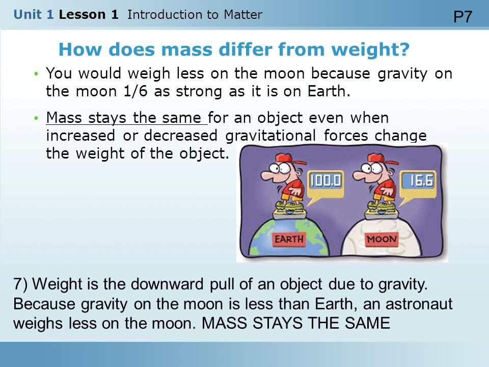 How does mass differ from weight