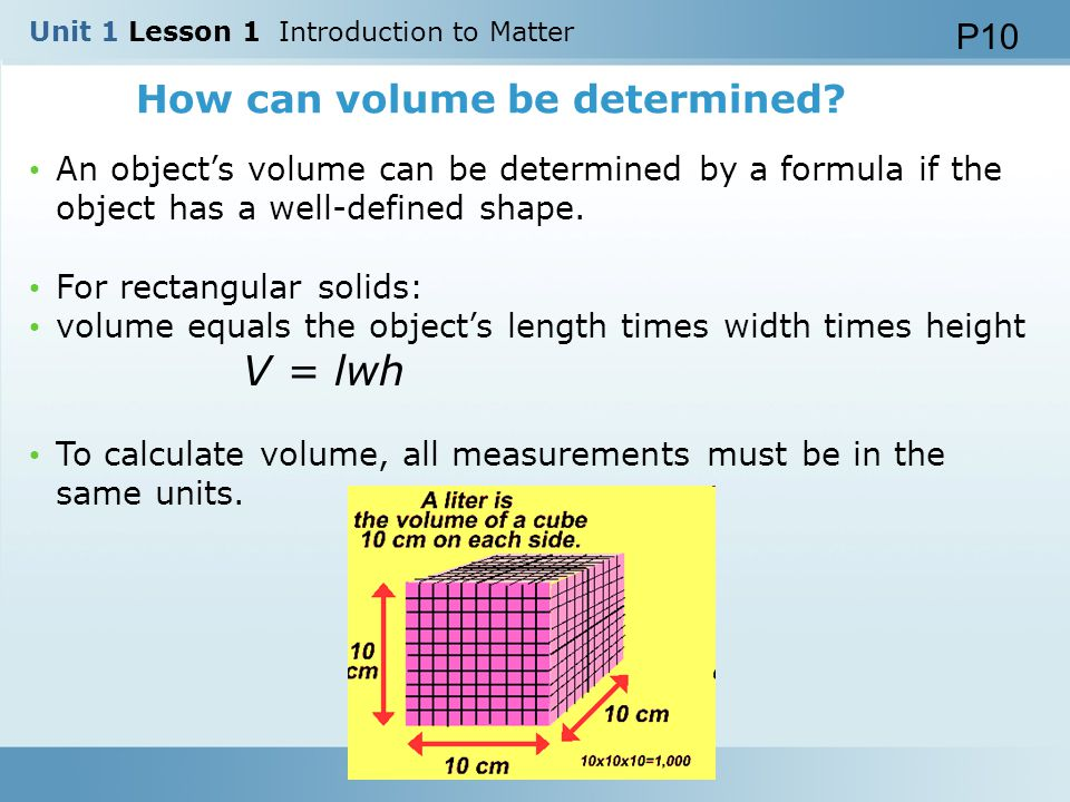 How can volume be determined