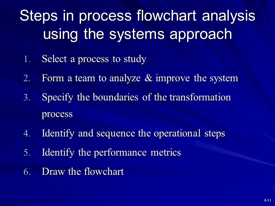 Steps in process flowchart analysis using the systems approach