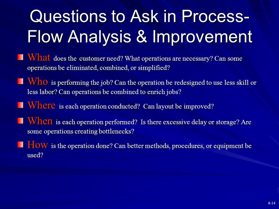 Questions to Ask in Process-Flow Analysis & Improvement