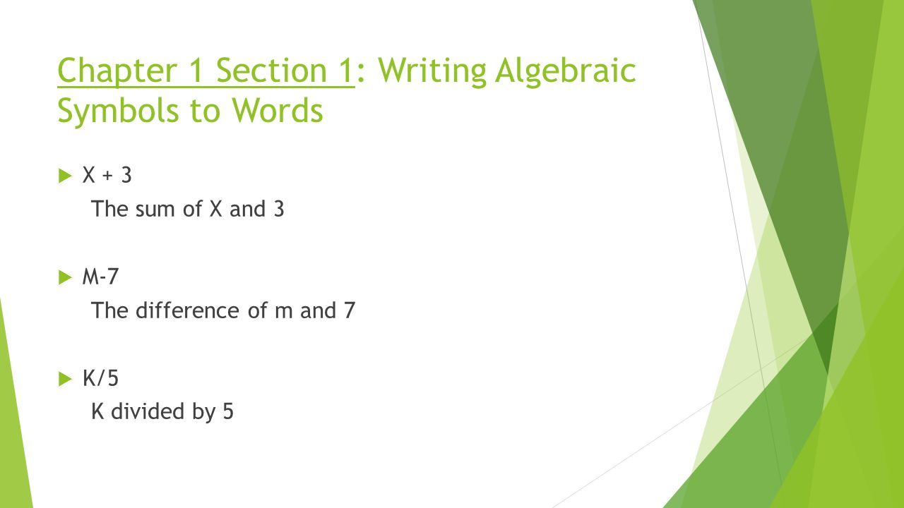 Algebra 1 chapter 1 ms fisher ppt video online download chapter 1 section 1 writing algebraic symbols to words biocorpaavc Choice Image