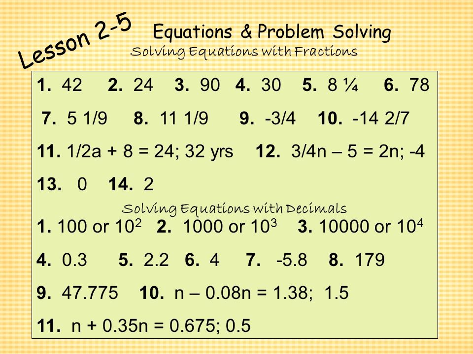 Solving Equation Problems