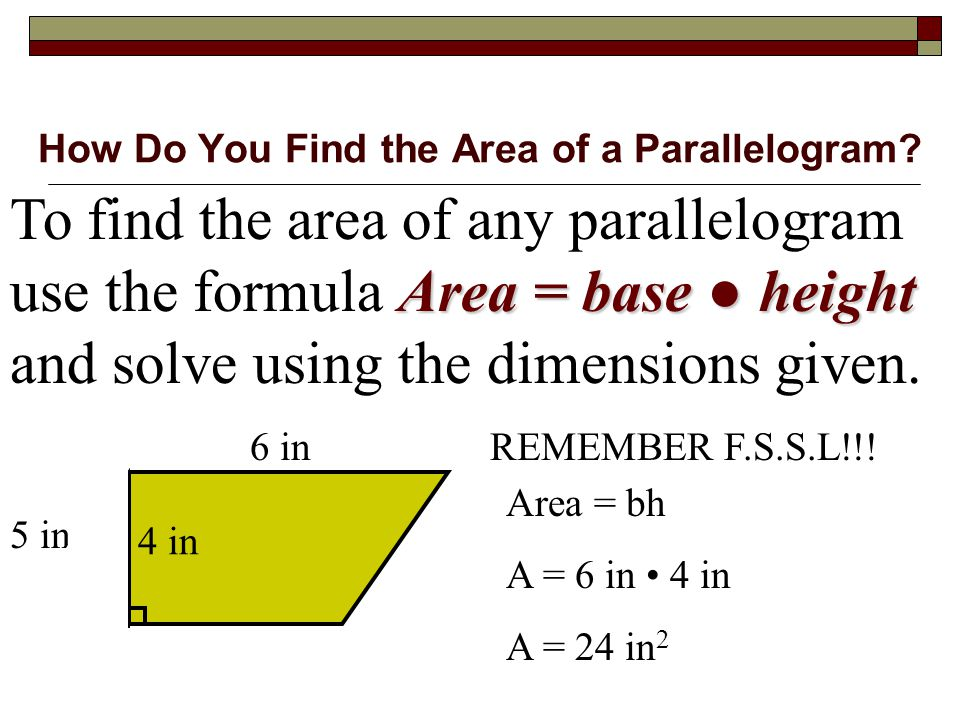 Equation For Area Of Parallelogram - Jennarocca