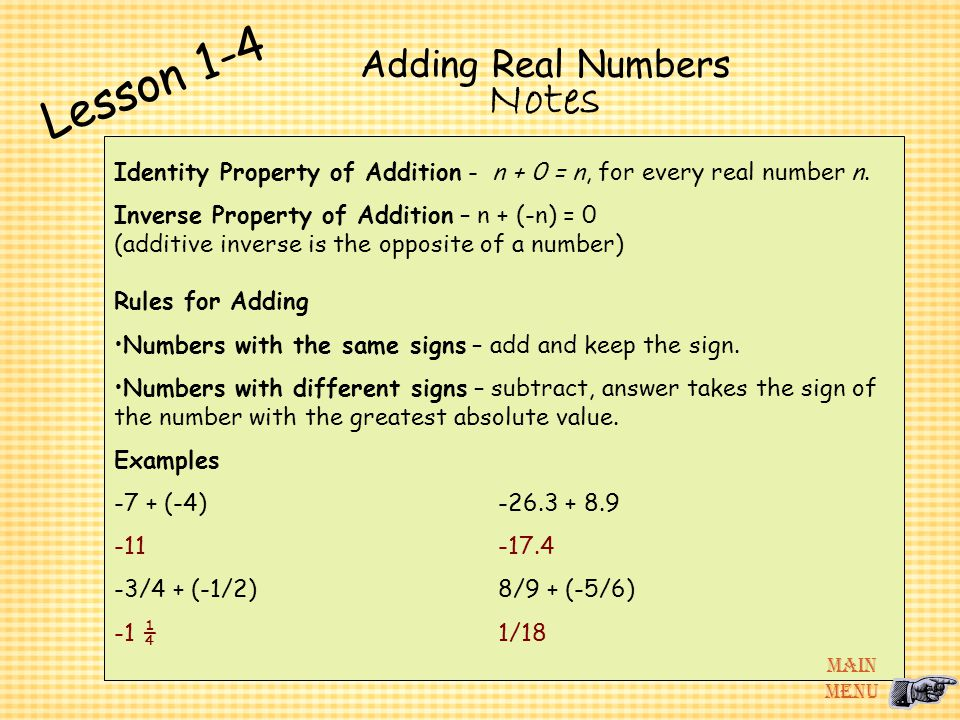 Lesson 1-4 Notes Adding Real Numbers