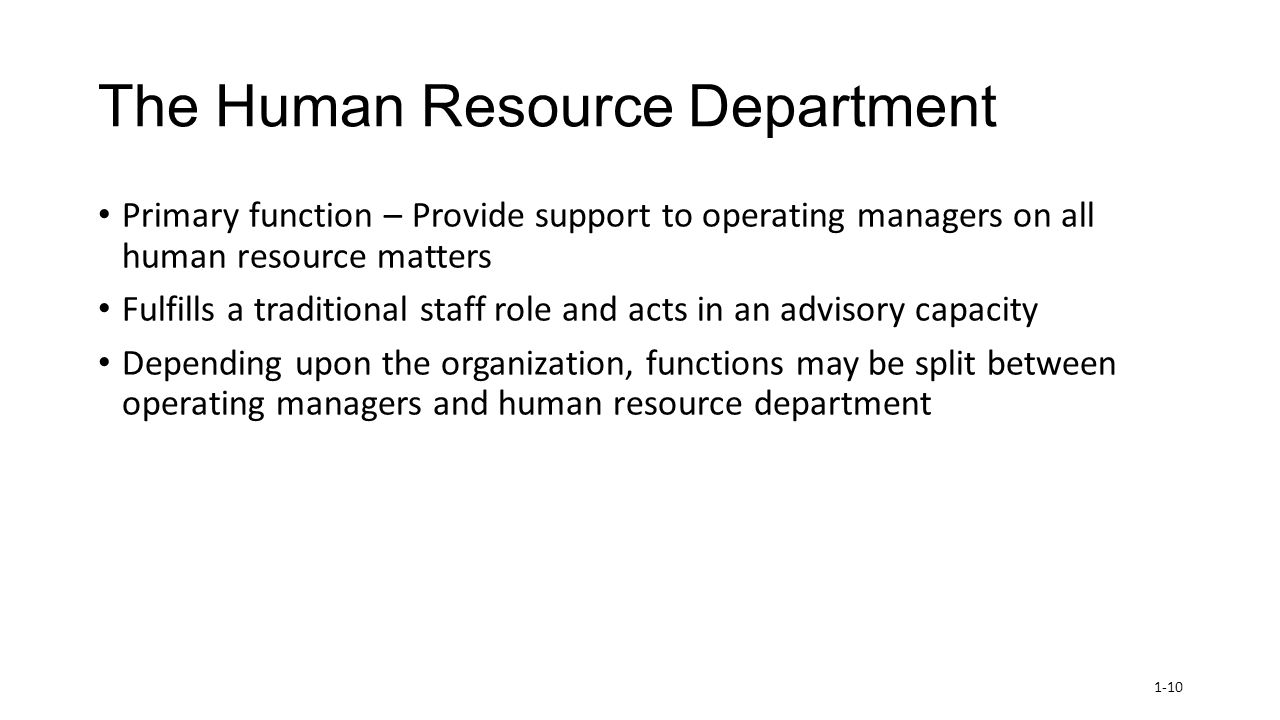 the role of human resource department Human resource management is the process of  human resource manager plays an very important role in  the human resource department spells out.