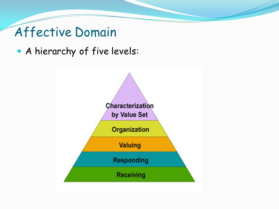 Affective Domain A hierarchy of five levels: