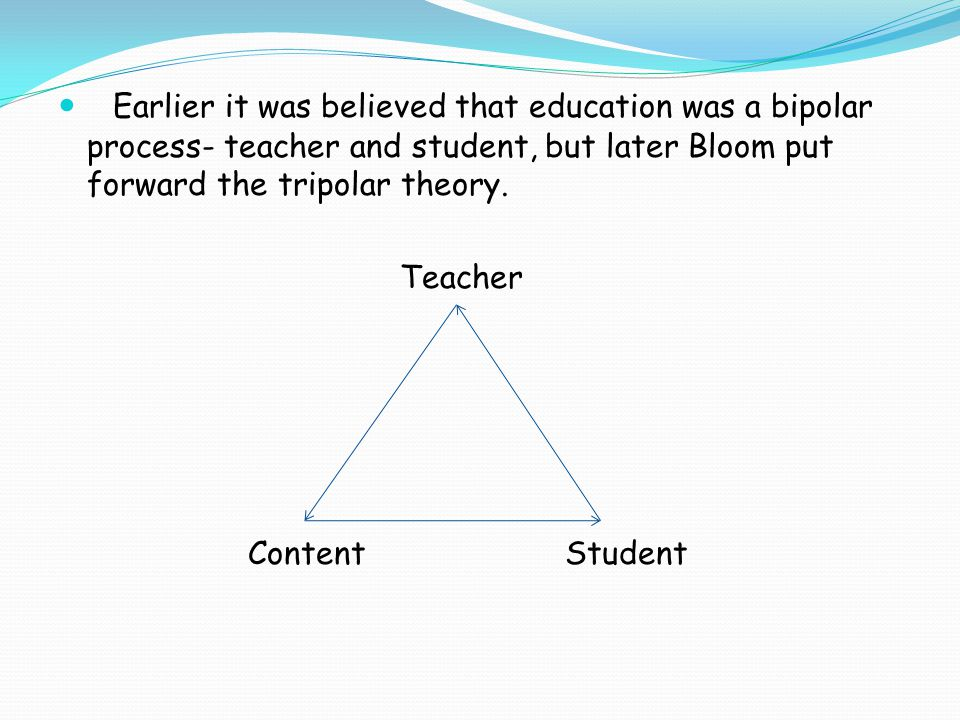 Earlier it was believed that education was a bipolar process- teacher and student, but later Bloom put forward the tripolar theory.