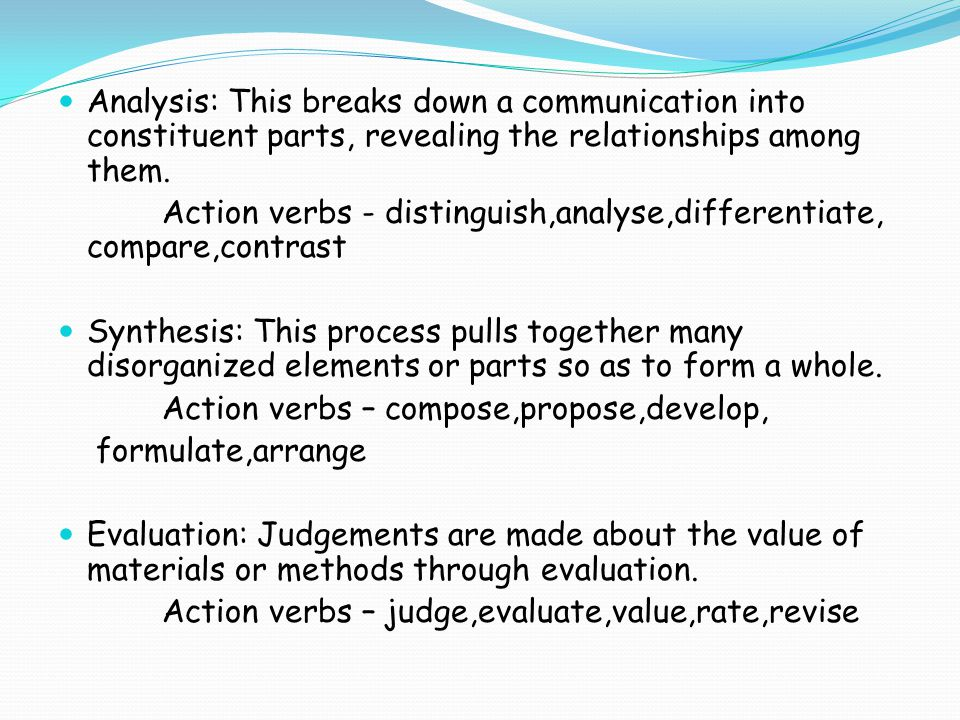 Analysis: This breaks down a communication into constituent parts, revealing the relationships among them.