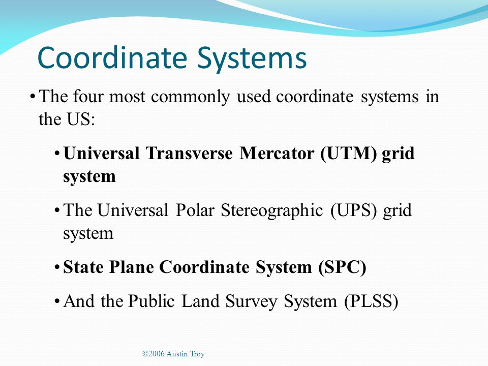 Specific Types And Coordinate Systems Ppt Video Online Download - Univerasl us coodirnate system arc map